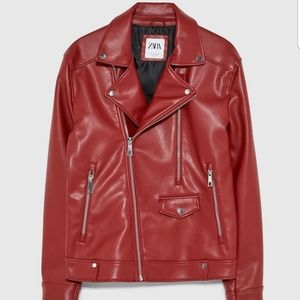 Zara Men's Faux Leather Biker Jacket